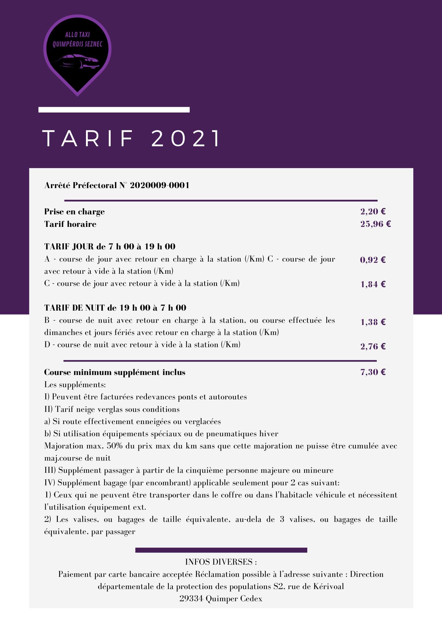 tarif 2021 - Accueil